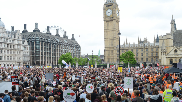 Thousands took to the streets against austerity in London (Getty Images)
