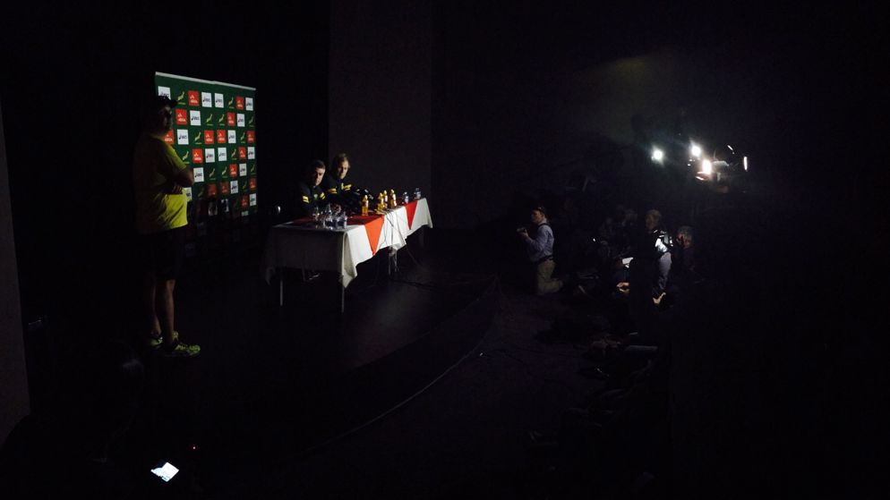 The lights went out during a Springboks press conference.