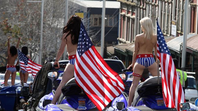 A more chaste view of the 2010 Boobs on Bikes parade (Getty Images)