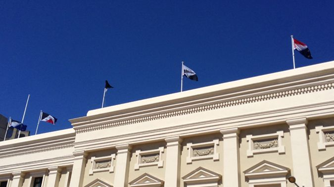 The potential new flags flying above the Wellington Town Hall (Josh Price)