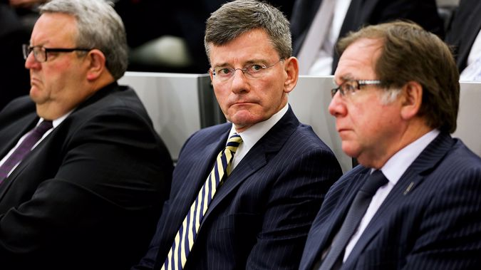 Chris Finlayson, Minister for the SIS and GCSB, sits between Defence Minister Gerry Brownlee and Foreign Minister Murray McCully (Getty Images)