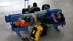 Stranded tourists at Bali airport (Getty).