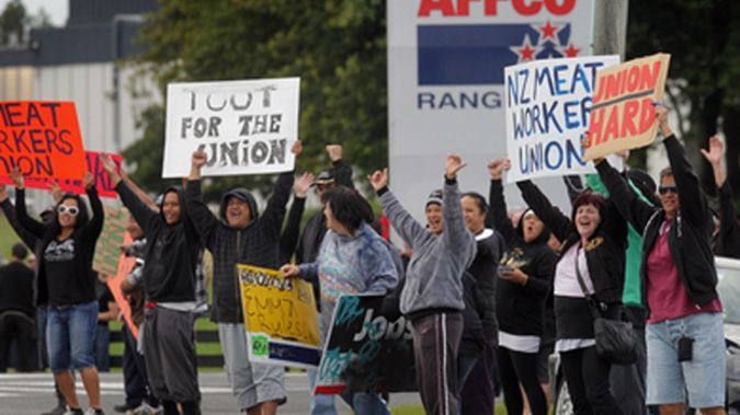 Striking meatworkers (File photo)