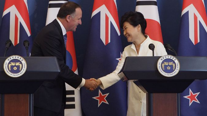 Prime Minister John Key and South Korean President Park Geun-Hye (Getty Images)