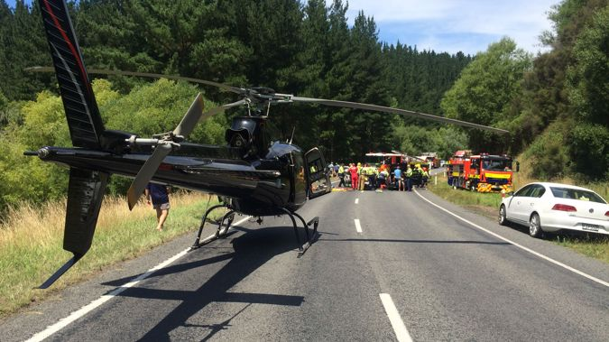 The Lowe Corporation Rescue Helicopter at the scene of the accident on State Highway 5, near Eskdale (Supplied).