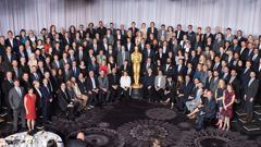 The Oscar nominees pose for a group photo - a picture of stark whiteness (Supplied)