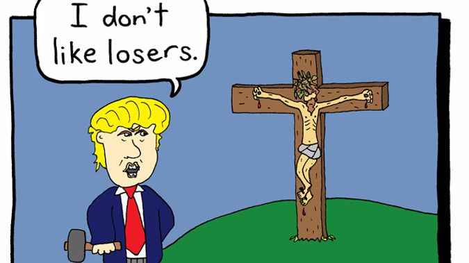 Saint Luke's church in Remuera has erected its billboard with a cartoon of Trump declaring Jesus Christ as a loser. (Supplied)