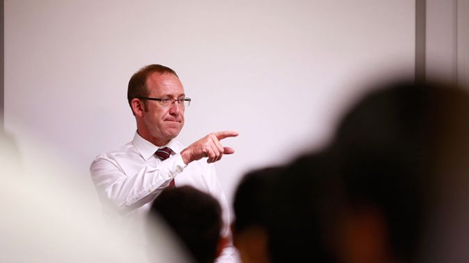 Andrew Little speaks to IT students in Auckland, February 2, 2016 (Getty Images)