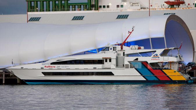 The Fullers Jet Raider Ferry was on its way from Waiheke to Auckland City when a fire broke out in its engine room (NZME).