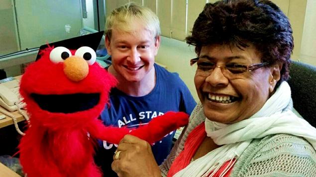 Elmo with Chris Lynch and Marica Kepa (Red Cross Fiji)