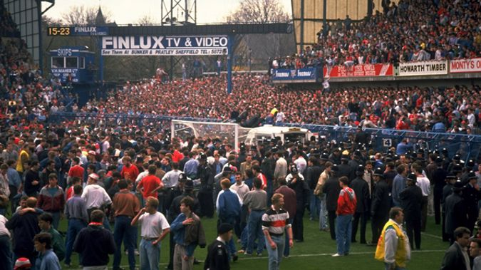 Fans flood the field after the Hillsborough disaster in 1989 (Getty Images)