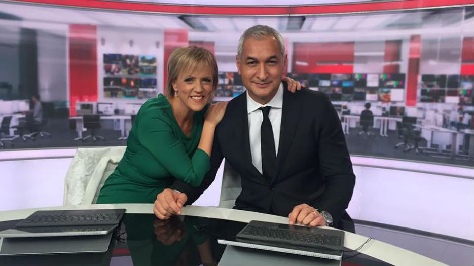 Hilary Barry with co-anchor Mike McRoberts on her final night of presenting Newshub (Photo / Facebook)