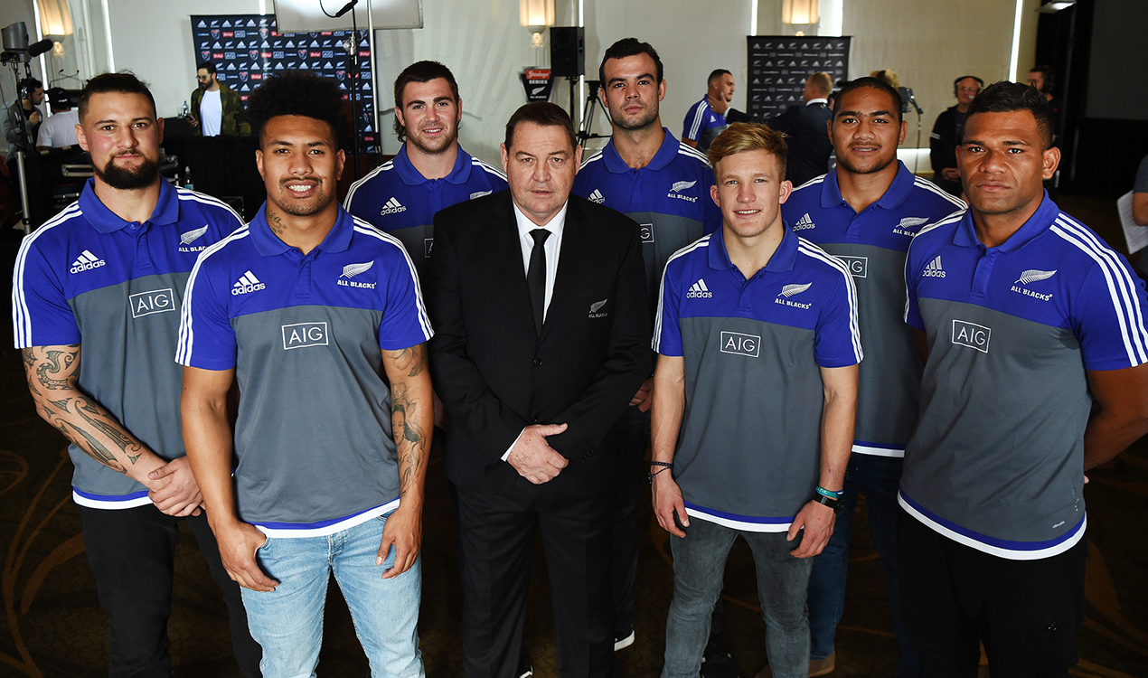 The debut All Blacks, with coach Steve Hansen (PHOTOSPORT)