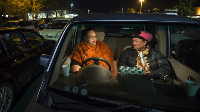 Olivia Tausinga, left, and Sisifa Fukofuka at the Mangere town centre Park Up For Homes event (Newspix)