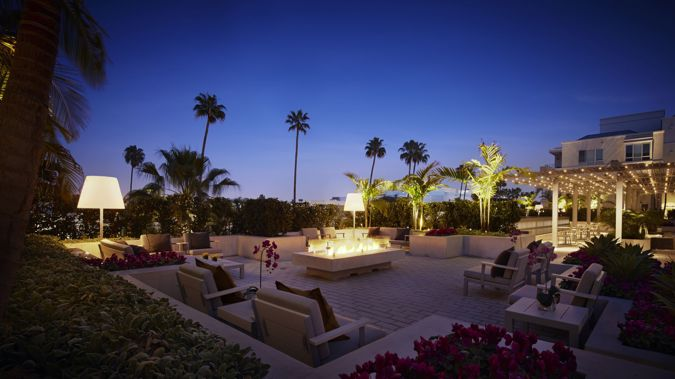 The terrace, complete with fire pit, at AKA Beverly Hills, suite accommodation. (Supplied)