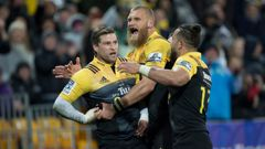 Hurricanes wing Cory Jane celebrating his try with flanker Brad Shields during the 2016 Investec Super Rugby final. Photo / Mark Mitchell
