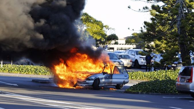 A car burst into flames at Pakuranga Plaza on Saturday evening (Supplied)