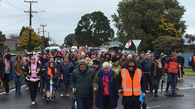 Around 150 people participated in the hikoi through Taranaki (Josh Price)