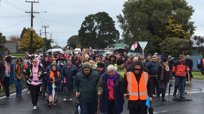 Around 150 people participated in the hikoi through Taranaki (Josh Price)