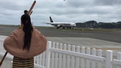The Singapore Airline as it landed at Wellington Airport this afternoon (Georgina Campbell).