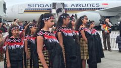 The first Singapore Airlines flight being welcomed to Wellington (Georgina Campbell)