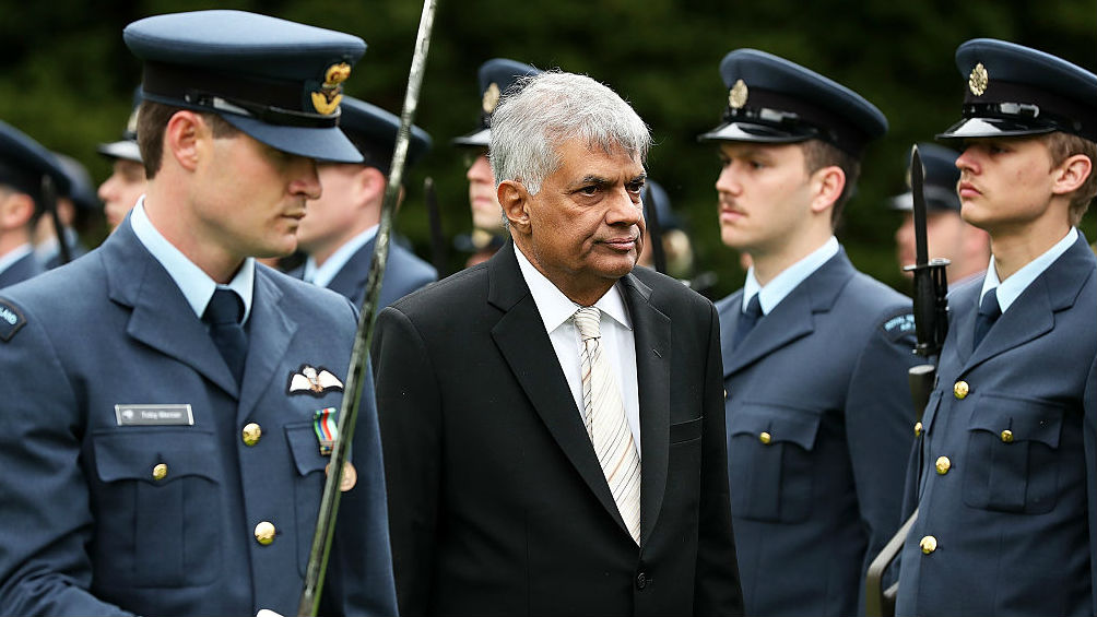 Sri Lankan Prime Minister Ranil Wickremesinghe officially being welcomed to NZ (Getty Images)
