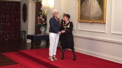Dame Jane Campion shakes the hand of Governor General Dame Patsy Reddy at Government House in Wellington (Photo / Georgia Nelson)