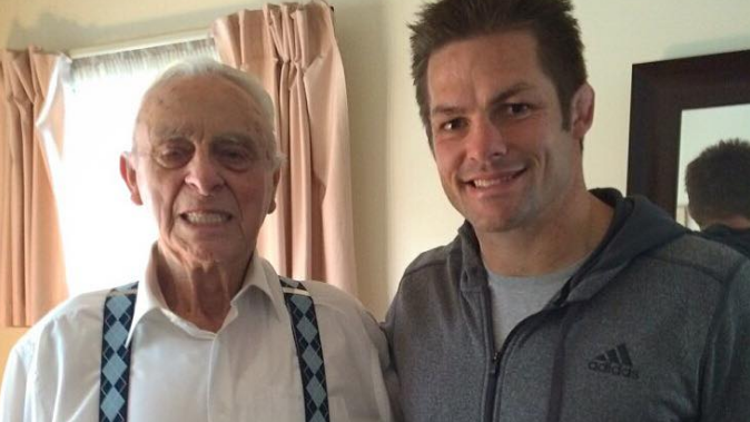 Two All Black greats - Wally Argus and Richie McCaw last year (Facebook)