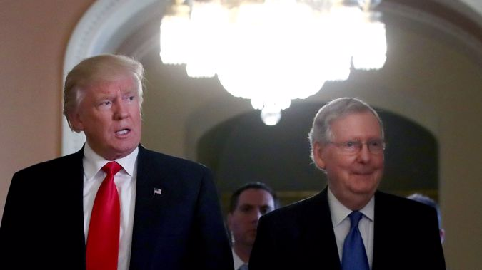 Donald Trump with  Senate Majority Leader Mitch McConnell (Getty Images)