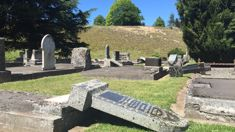 Waiau after quake: Red stickers and toppled tombstones