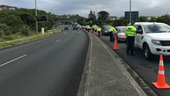Police in Wellington this weekend breath testing drivers on State Highway One (Photo / Georgia Nelson)