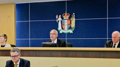 Hearing the facts: Dr Karen Poutasi (left), Lyn Stevens QC and Anthony Wilson, presiding over a hearing relating to the Havelock North gastro crisis. Photo/Warren Buckland.