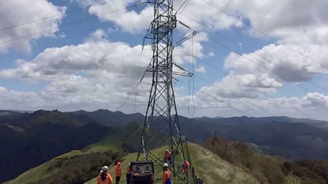 Eastland Network contractors repair part of the 800m of power lines near Gisborne. (NZ Herald/Supplied)