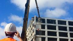 Wellington's Reading Cinema carpark is being demolished (Katrina Bennett).