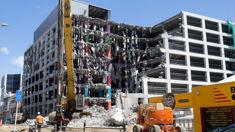 Sightseers gather to watch demolition work in Wellington