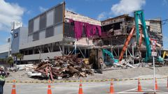 The Reading Cinema car park in Wellington had to be torn down after it was damaged in the November 14 quake last year. Photo / Mark Mitchell