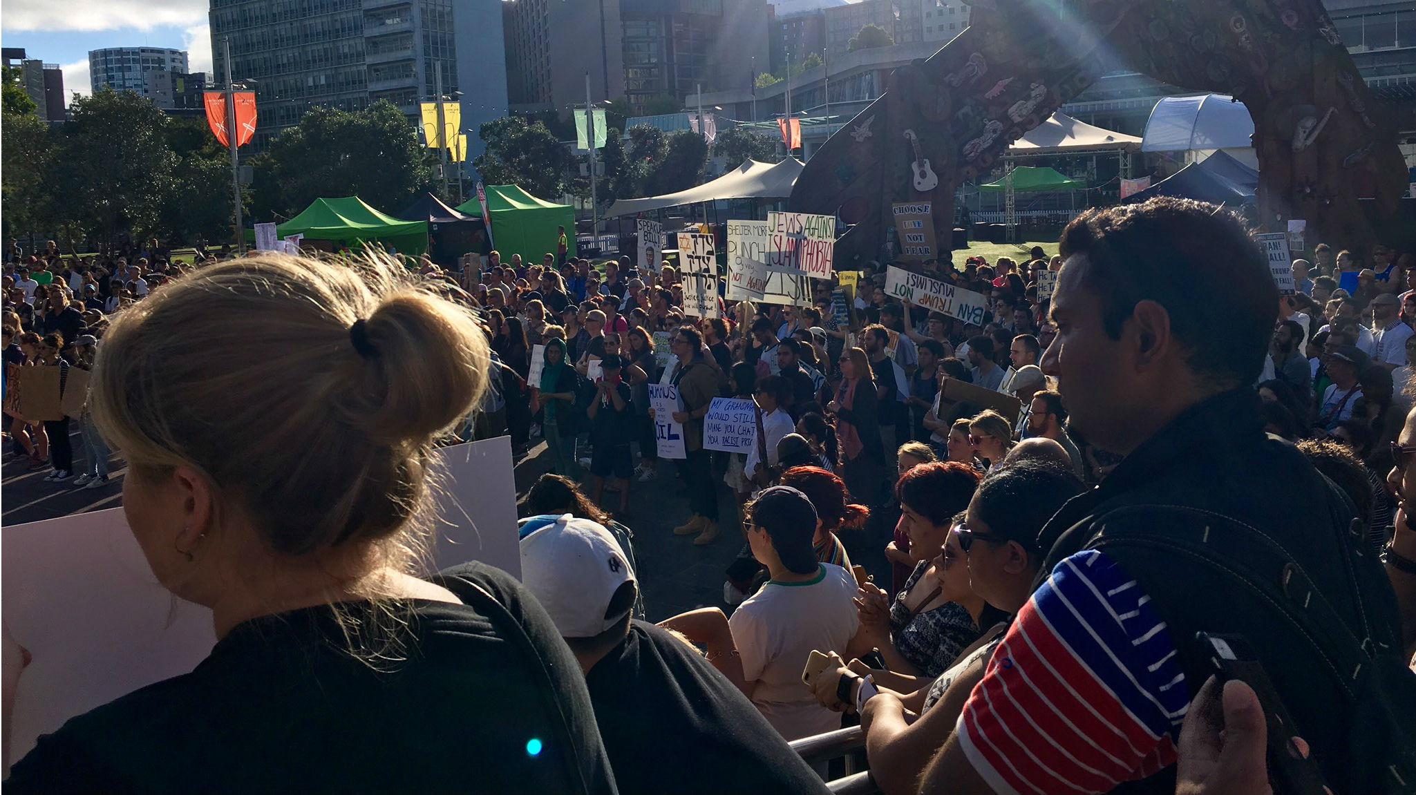 Protestors in Aotea Square (Rosie Gordon).