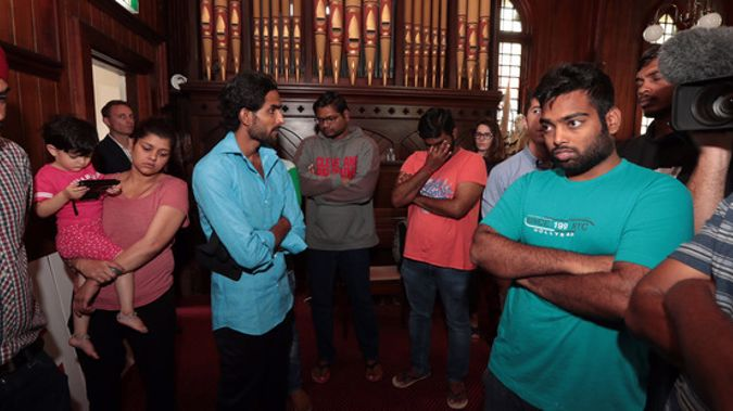Indian students at the Unitarian Church in Ponsonby may now be able to reapply for student visas from India. Photo / Brett Phibbs