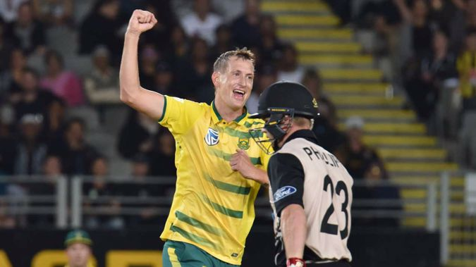 Chris Morris celebrates the wicket of Glenn Philips (Getty Images)