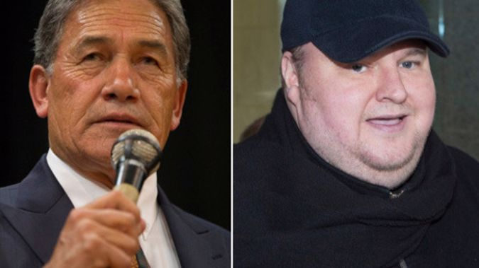 NZ First leader Winston Peters and Kim Dotcom (NZH)