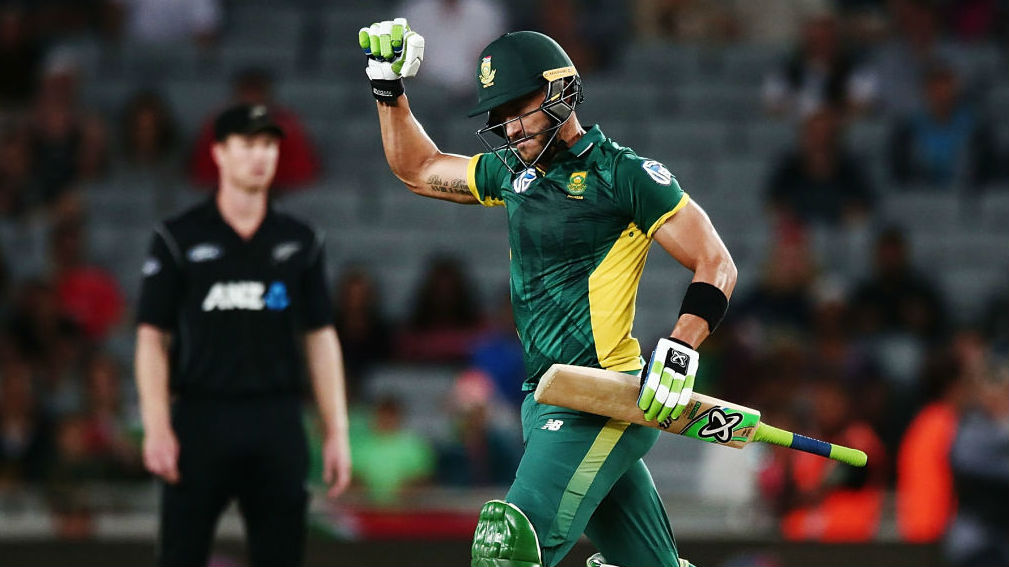 Faf du Plessis of South Africa celebrates winning game five of the ODI series at Eden Park. (Getty)