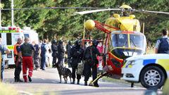 Emergency services at the scene of the Kawerau siege (NZ Herald)