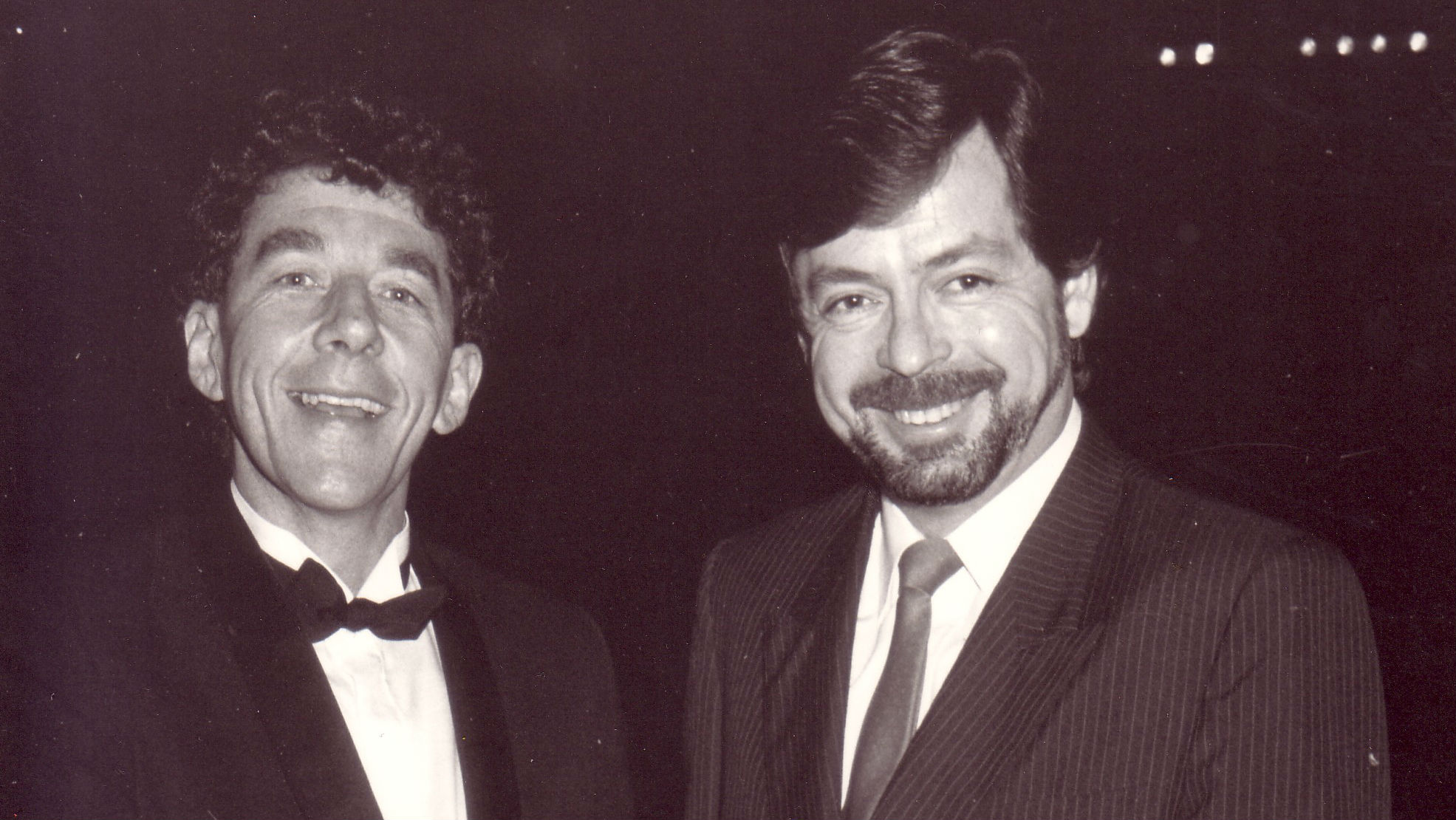 Legendary Newstalk ZB broadcasters, the late Sir Paul Holmes and Leighton Smith, pictured together in 1989.
