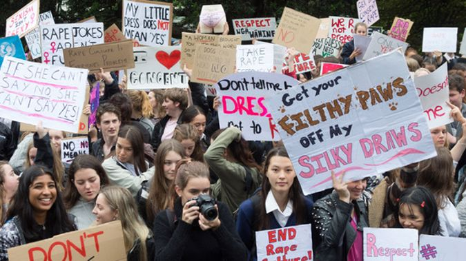 Protesters during their rally against rape culture at Parliament on Monday (Mark Mitchell).