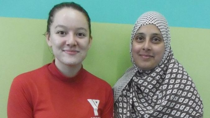 YMCA instructor Bernadine (left) with Gayas Fathima, 33, who is one of the migrant women who attends the classes at Cameron Pools. Photo / Supplied