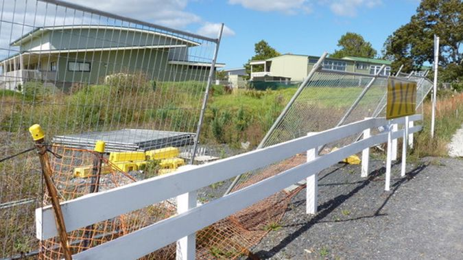Fencing of a section of asbestos contaminated soil at Hobsonville Primary School taken by a parent in February. (Natalie Marsh)