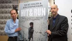 Nicky Hager and Jon Stephenson at the launch of 'Hit and Run' (NZH)