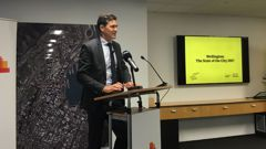 Wellington Mayor Justin Lester this morning delivered his first State of the City speech (Photo / Georgia Nelson)