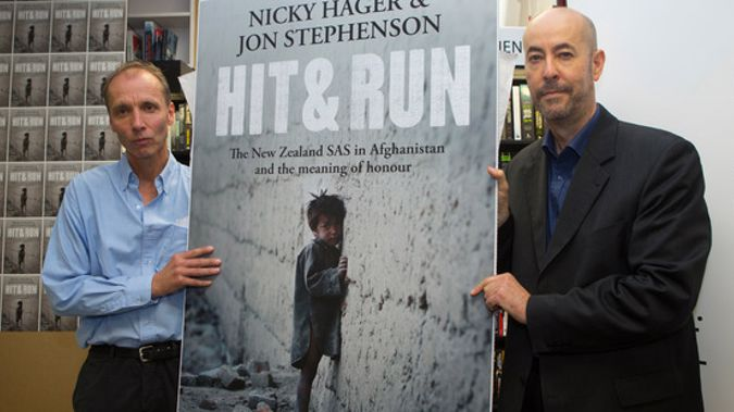 Authors Nicky Hager, left, and Jon Stephenson with their book, 'Hit & Run' (Mark Mitchell).
