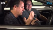 Mike Hosking rides in a Tesla